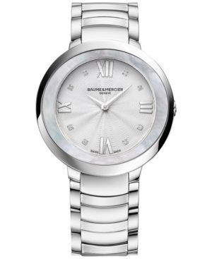 Baume & Mercier Women's Swiss Promesse Diamond Accent Stainless Steel Bracelet Watch 34mm M0A10178