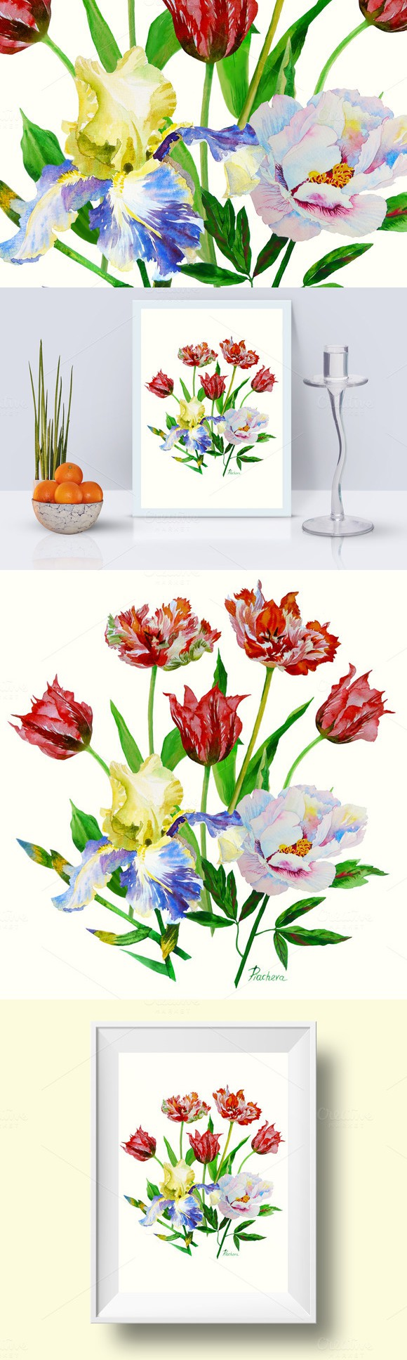 Bouquet with tulips iris and peony watercolors peonies and irises