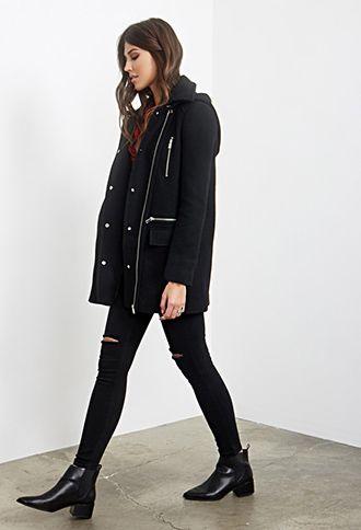 Zip-Front Overcoat | FOREVER 21 - 2000060434