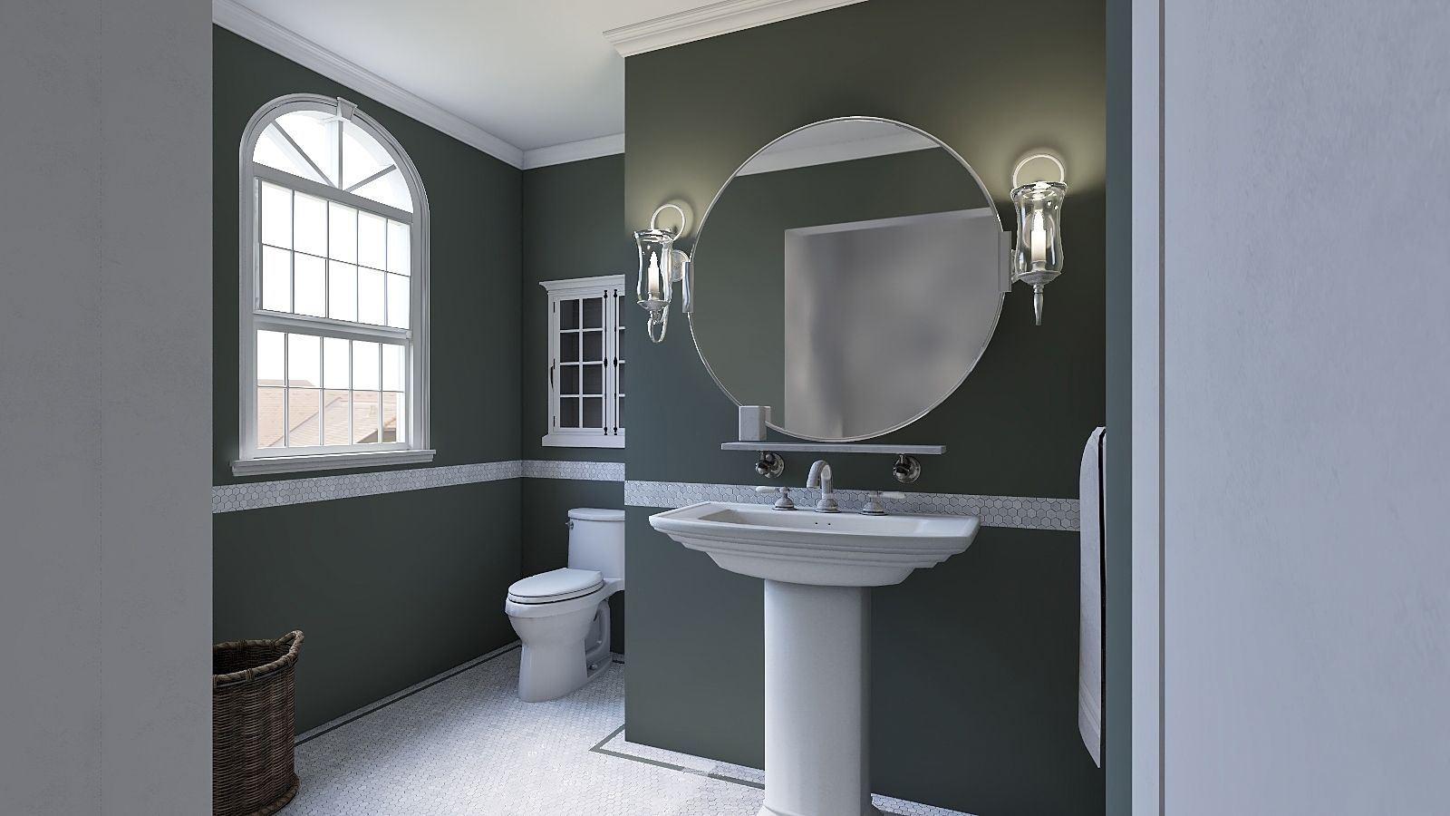 Seattle Bathroom 3d Imagery With Images Round Mirror