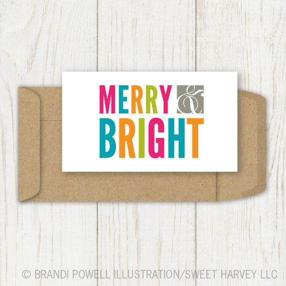 Merry and Bright Mini Cards: Christmas Mini Card, Holiday Gift Tag - Neon, Bright, Fuschia Pink, Orange, Neon Green, Blue, Grey (Set of 8). $10.00, via Etsy.