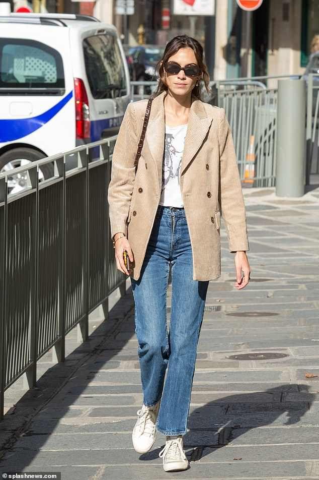 Alexa Chung puts on a trendy display in corduroy blazer during PFW