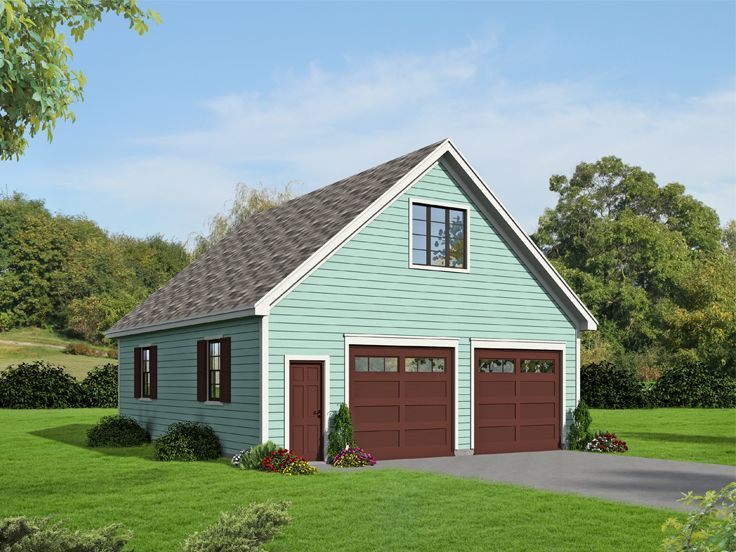 062G0080 2Car Garage Plan with Loft Size 28'x32