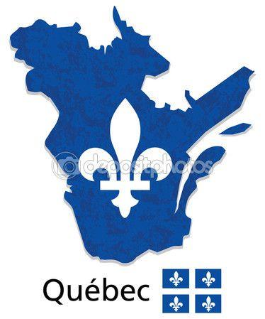 Quebec map with emblem and flag illustration — Image vectorielle Juliedeshaies © #64706577