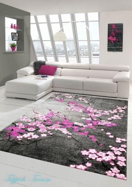 Designer Teppich Moderner Wohnzimmer Blumenmuster Grau Lila Pink