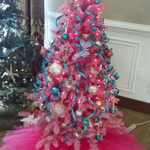 Hot Pink Christmas Tree Skirt Products Pink Christmas Tree Teal