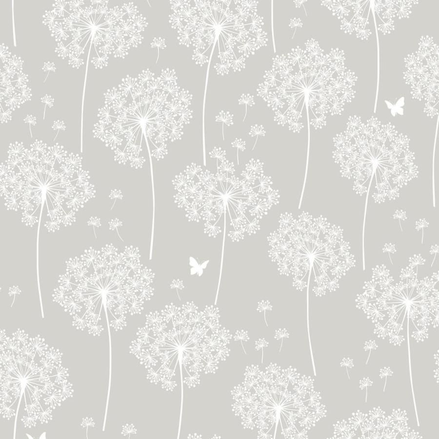 Nuwallpaper 30 75 Sq Ft Neutral Vinyl Floral Self Adhesive Peel And Stick Wallpaper Lowes Com Dandelion Wallpaper Nuwallpaper Grey Wallpaper