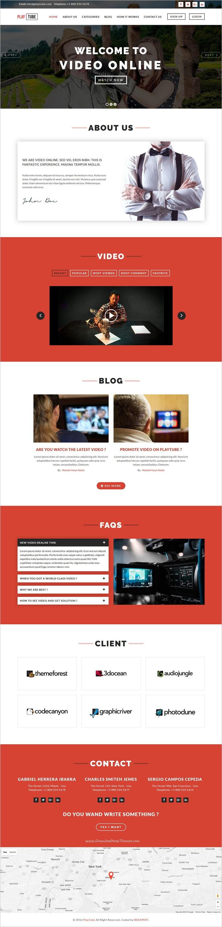Playtube Video Blog Entertainment Template Website Template Templates Web Design