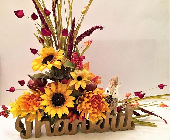 Fall Floral \u0027Thankful\u0027 Centerpiece With Squirrel, Large Whimsical