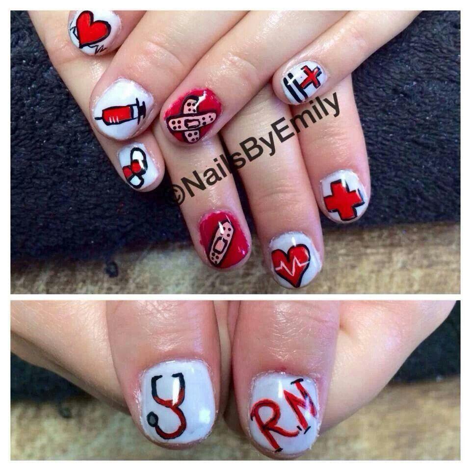 Nurse nails Nurse nails, Fingernail polish designs, Toe