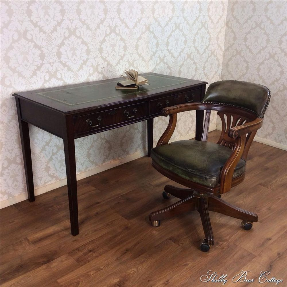 Antique leather writing desk and captains chair pedestal chesterfield  mahogany in Antiques, Antique Furniture, - Antique Leather Writing Desk And Captains Chair Pedestal