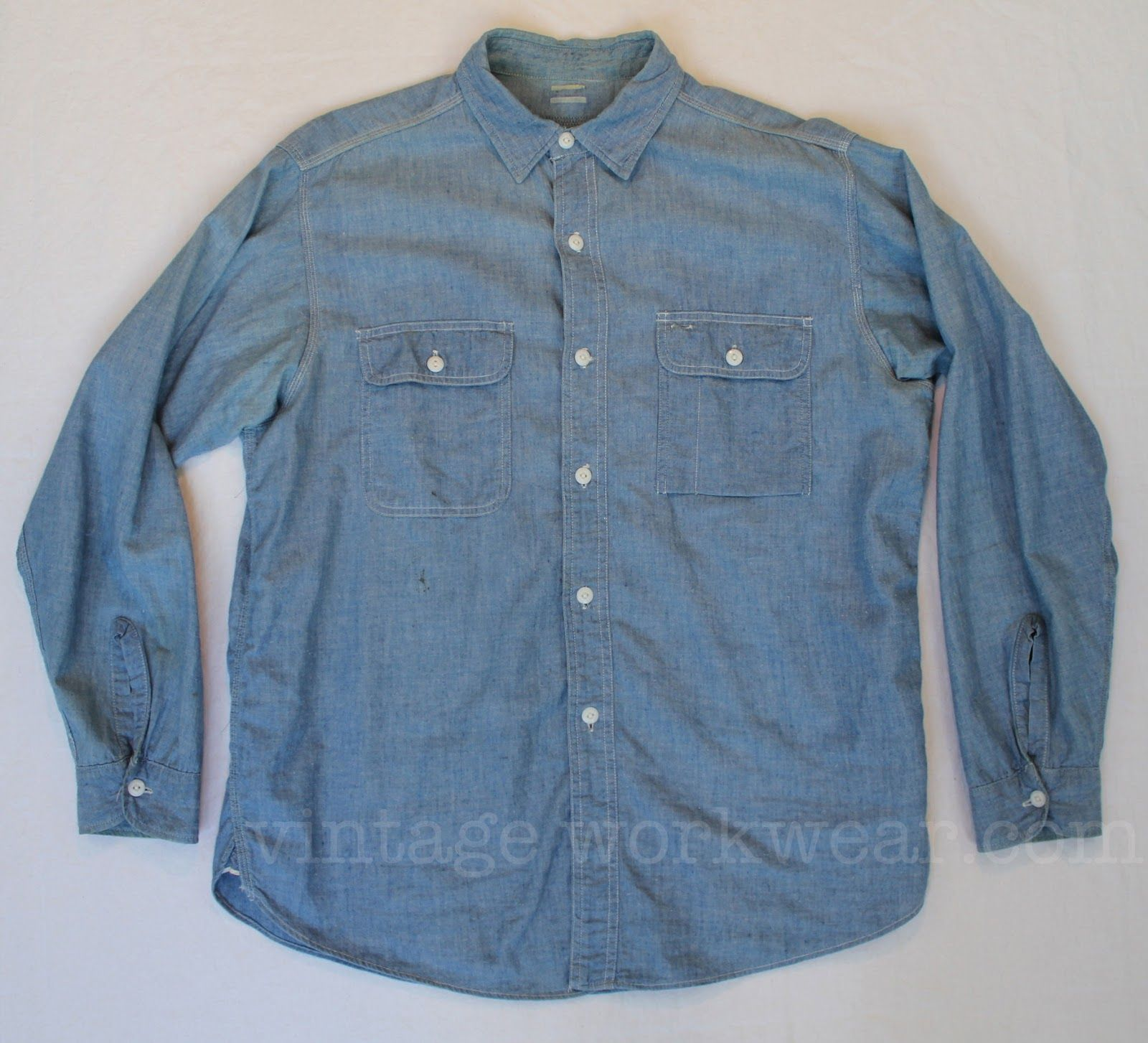 e845d813f06 vintage workwear  Vintage BIG YANK Chambray Work Shirt with Sweat Proof  Pocket