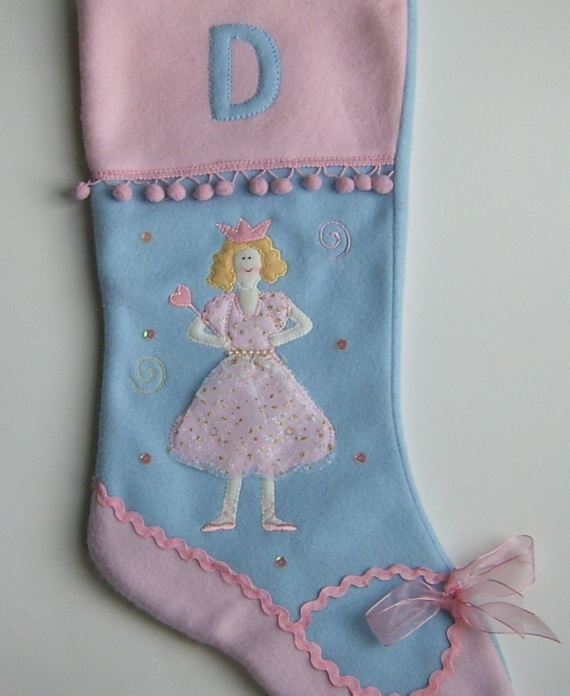 Ballerina christmas stocking personalized letter d pink