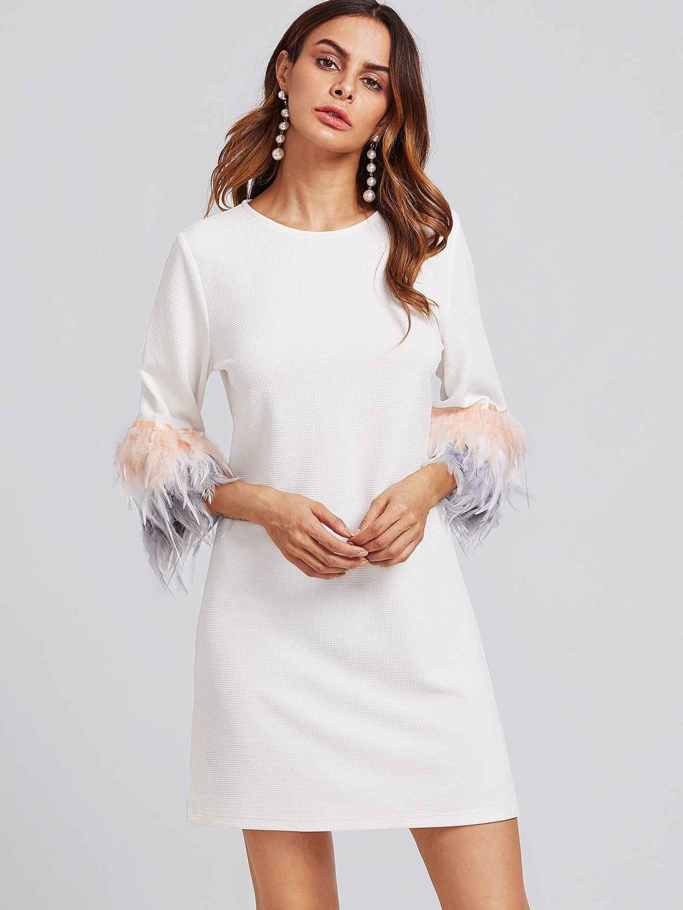 10064eacc0 Shop Contrast Feather Sleeve Textured Dress online. SheIn offers Contrast  Feather Sleeve Textured Dress & more to fit your fashionable needs.