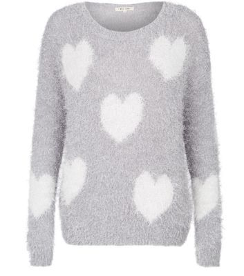 Grey and White Heart Print Fluffy Jumper