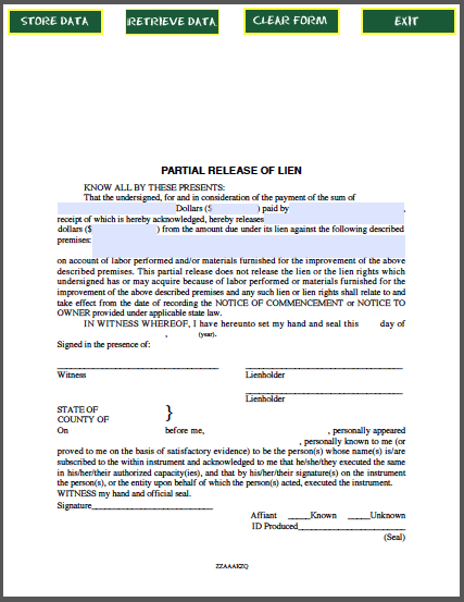 Sample Lien Release Form Partial Release Of Lien Certificate Template