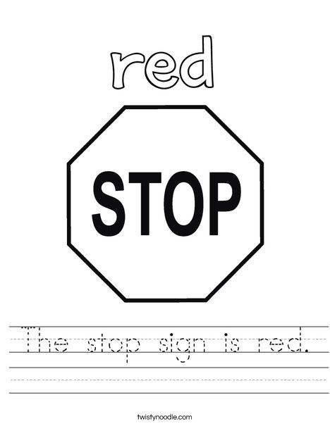 The Stop Sign Is Red Worksheet Twisty Noodle Mini Books
