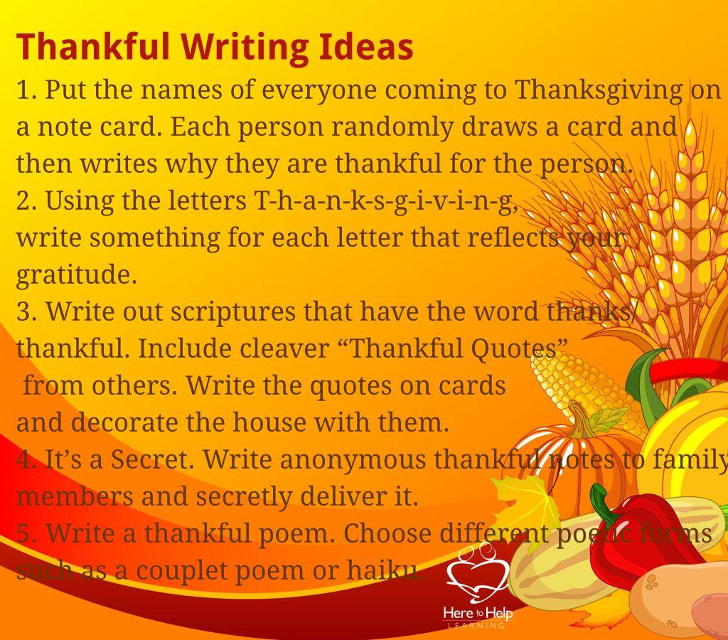 Five Thankful Writing Ideas Need More Fun In Your Writing