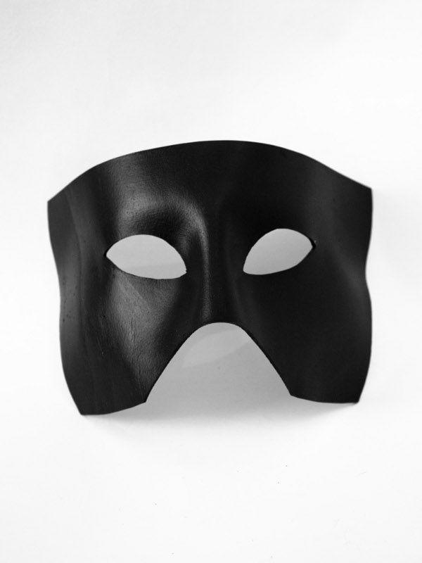 Haden Black Leather Deep Face Masquerade Mask