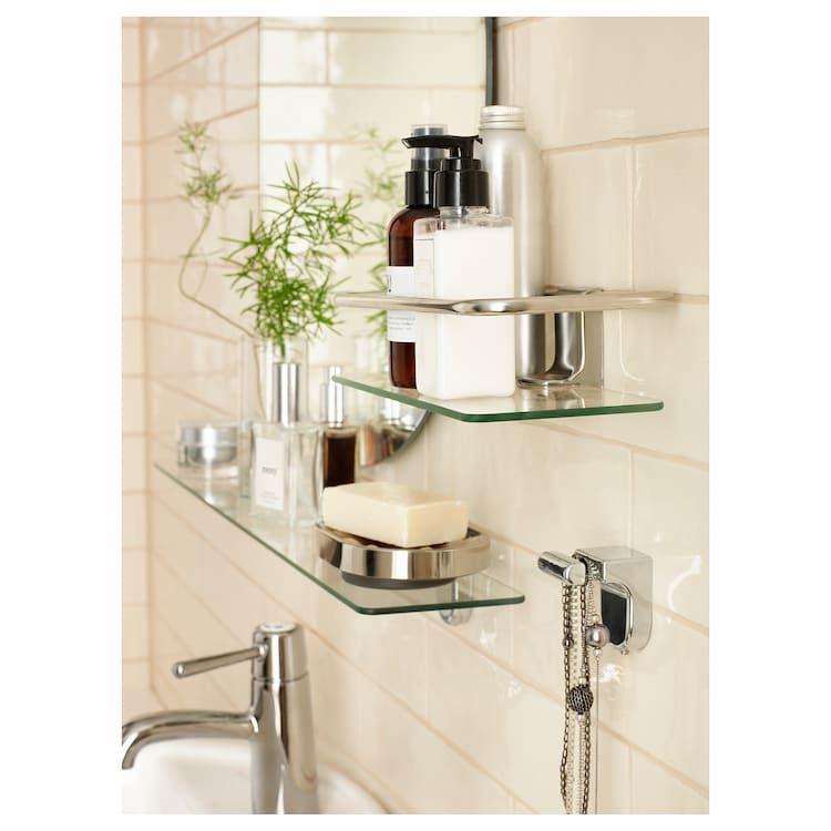 Ikea Kalkgrund Chrome Plated Shower Shelf Glass Bathroom Shower