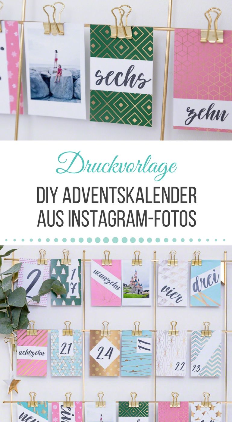 diy adventskalender mit instagram fotos basteln inkl druckvorlage zum download christmas. Black Bedroom Furniture Sets. Home Design Ideas