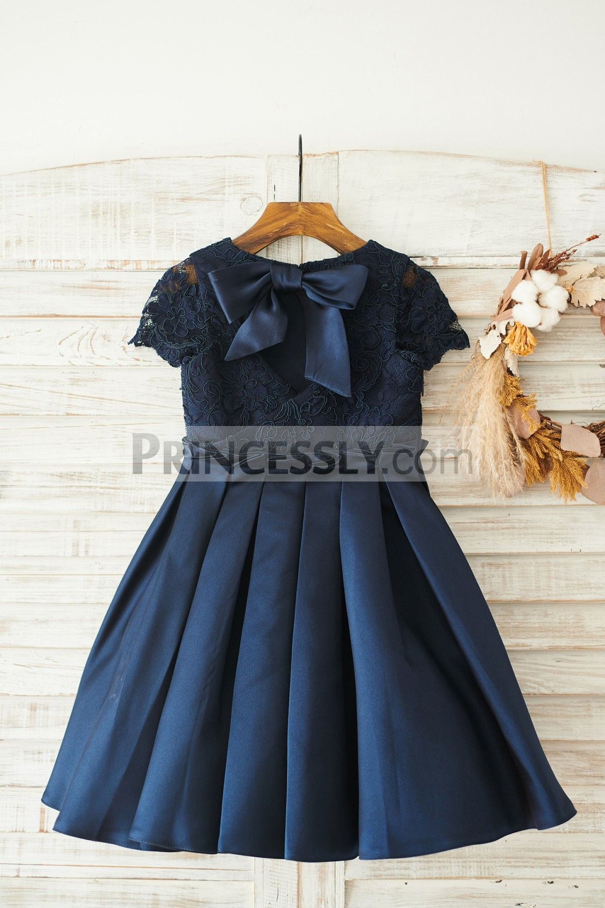 4c1a4c31e82 Navy Blue Lace Satin Short Sleeves Keyhole Back Wedding Flower Girl Dress