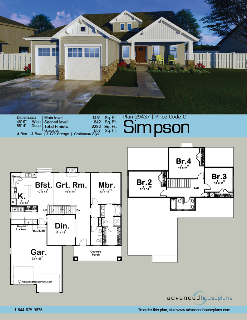 1 5 Story Craftsman House Plan Simpson House Plans Craftsman House Plan Advanced House Plans