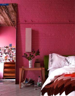 Bed Bedroom Hot Pink Fuchsia Fuschia Painted Brick Walls Interior Design Decor Decorate