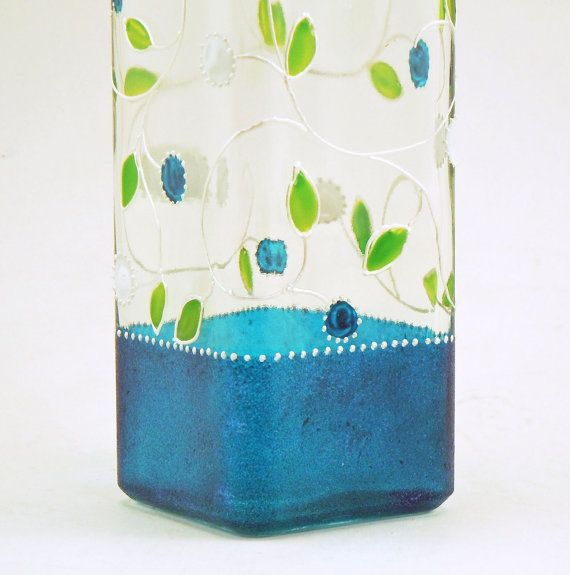 Painted glass bottle Lydie Collection by CreationsdeFlorence