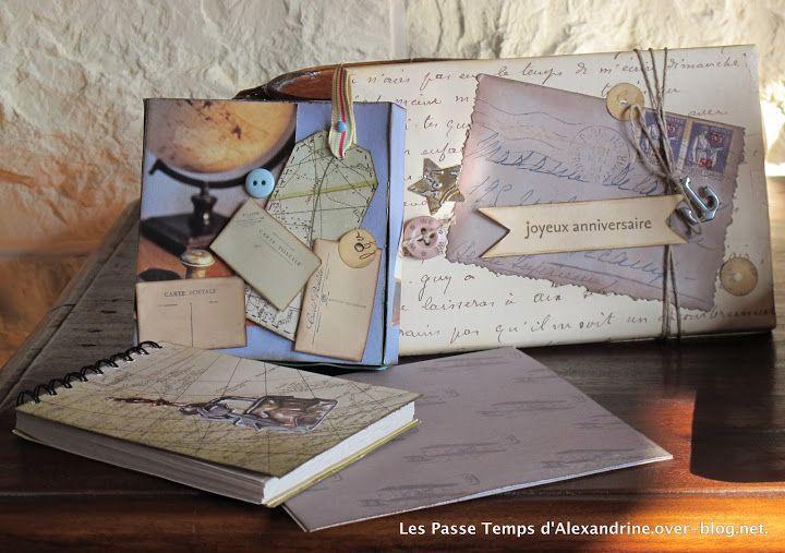 set de bureau vintage + pochette à CD et carte d'anniversaire dans son enveloppe assortie http://www.lespassetempsdalexandrine.com/