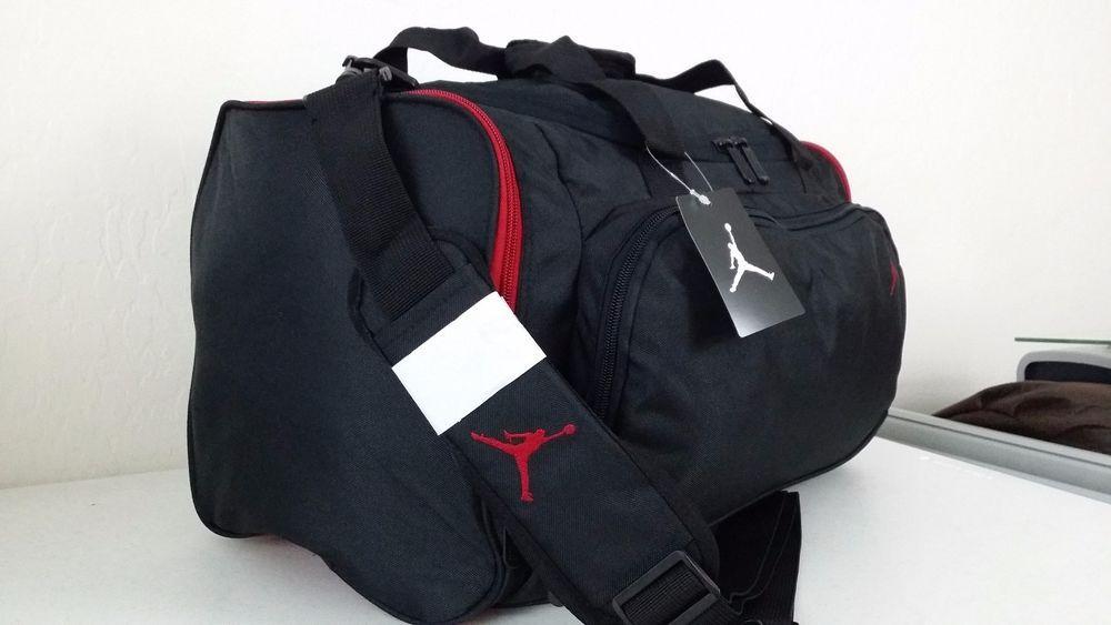 NWT NIKE AIR JORDAN JUMPMAN Black Red Duffle Gym Bag Travel Carry On  8A1215-344 e90e82d749310