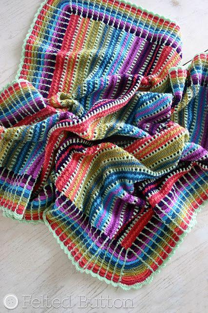 Bolos Manta Crochet Pattern libre por Susan Carlson Botón de Fieltro ...