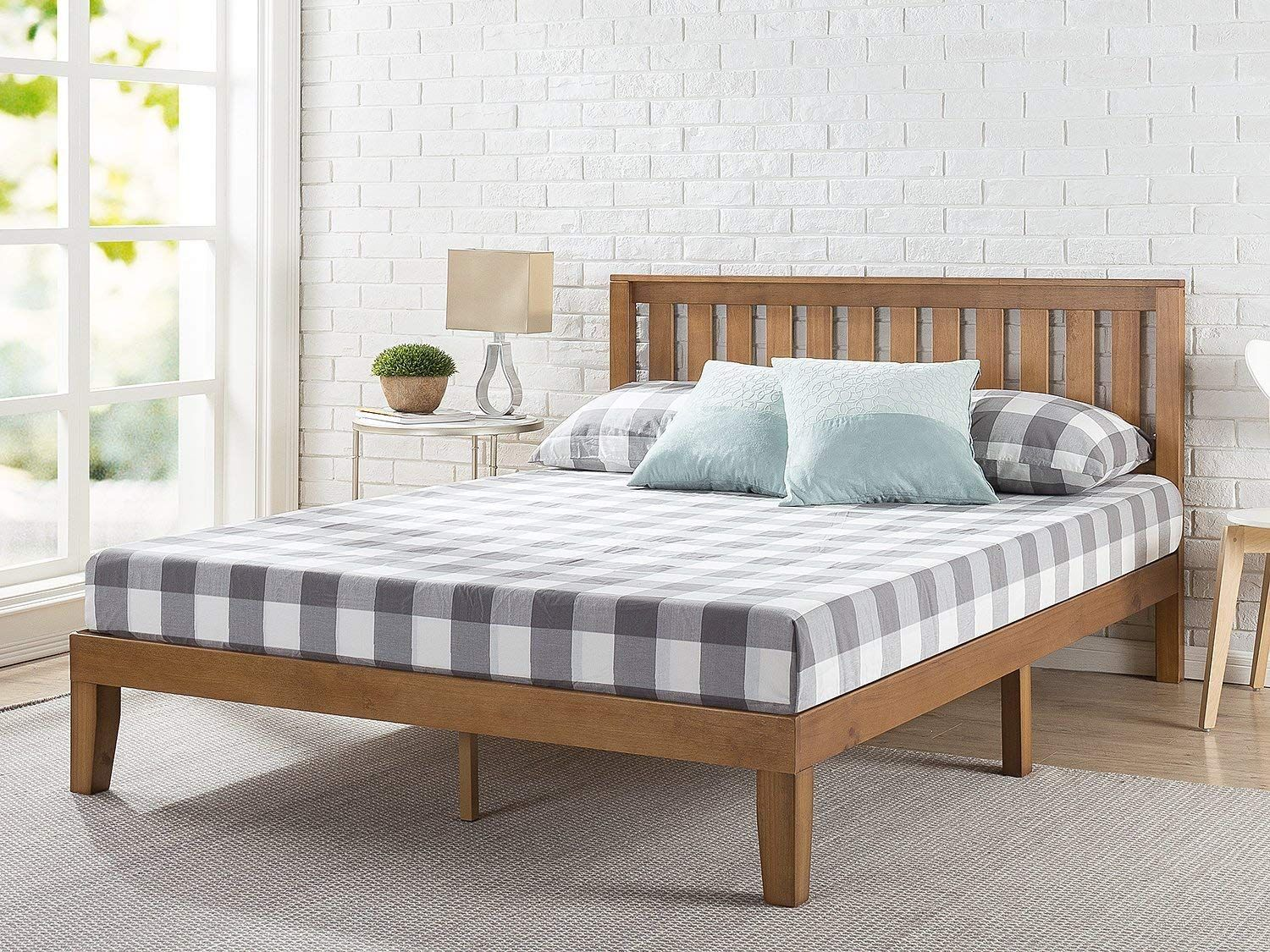 Amazon Com Ad Zinus Inc Designs Fluffy Supportive Nice Smelling Things That Are Easy Solid Wood Platform Bed Bed Without Headboard Headboards For Beds