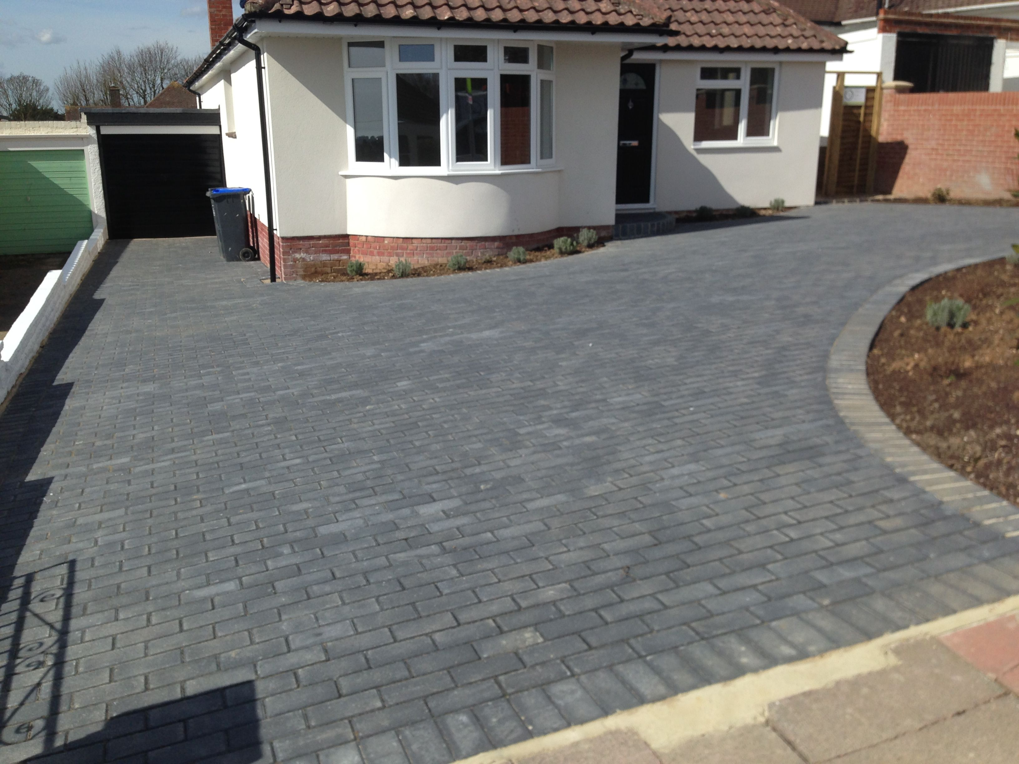 Contemporary with front steps gray brick driveway gray brick driveway - Grey Block Paved Driveway Charcoal Blocks Brick