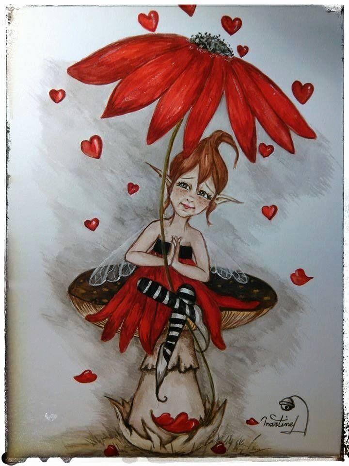 Aquarelle Feee Follette Sous Une Pluie D Amour Avec Son Parapluie