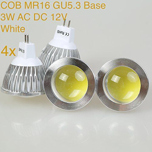Weanas 4x Cob Gu5 3 Undimmable Led Pa Spotlight Bulb Lamp 3 Watt Ac Dc 12v 10 20v White 20w Halogen Track Bulb Equivalent R Spotlight Bulbs Led Spotlight Bulb