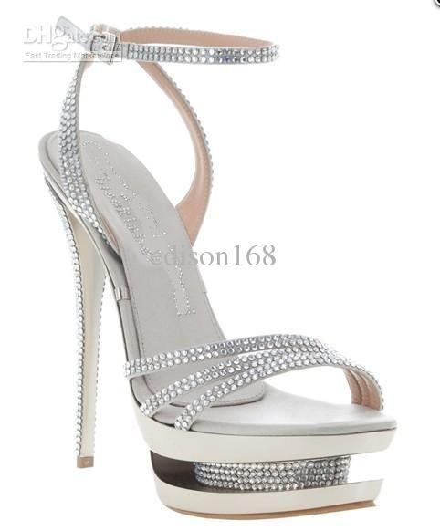 9f3b6fab03e New Fashion women silver Color leather High Heels Platform Diamond ...