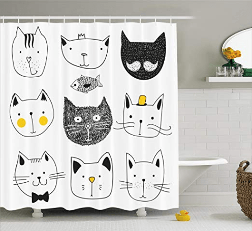 Add Some Purrfect Touch To Your Home Design With These Cat Themed Accessories Cat Shower Curtain Shower Curtain Hooks Bathroom Decor Sets