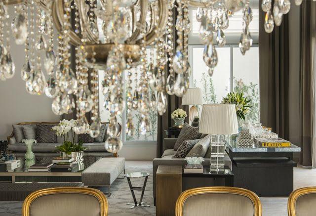 Inspiração para um living integrado a sala de jantar elegante e sofisticado