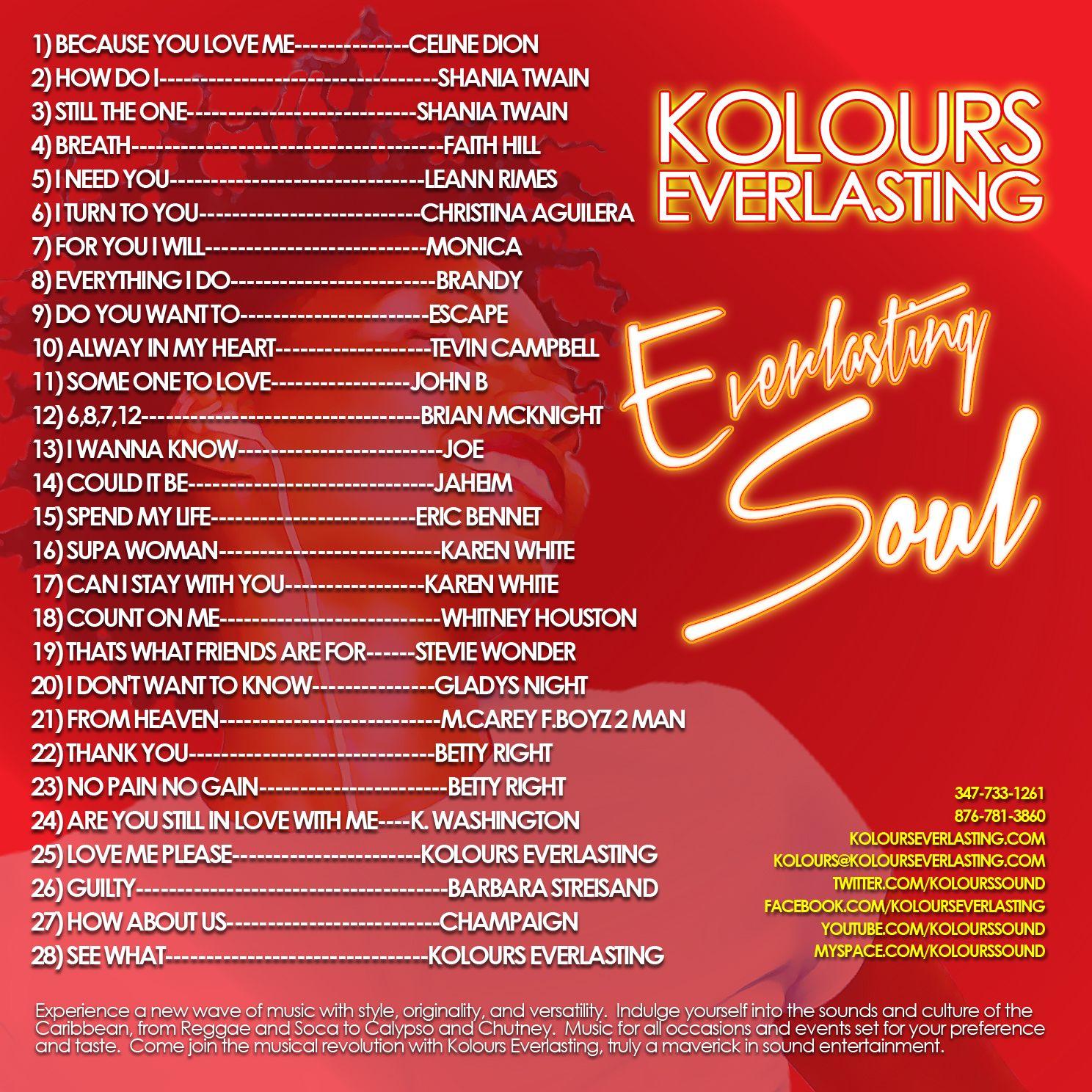Kolours Everlasting Souls Slow Jam Country Old Hits Mixtape Brian Mcknight Faith Hill