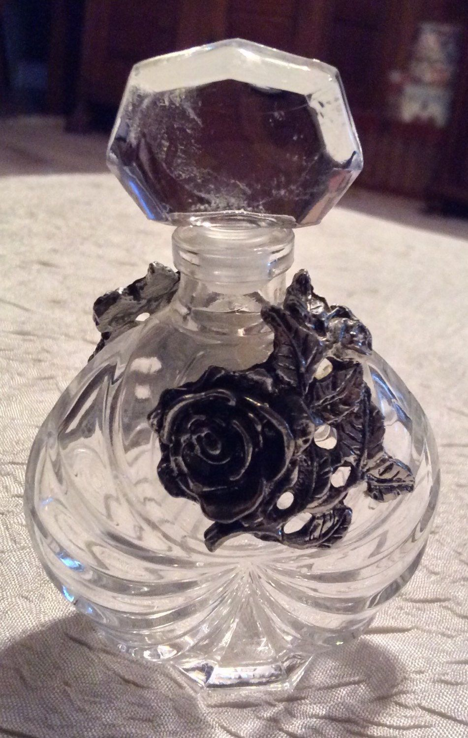 """Vintage 3 1/2"""" Tall Crystal Perfume Bottle Stamped Made in France Hollywood Regency for Vanity or Dresser with Silver Roses - pinned by pin4etsy.com"""