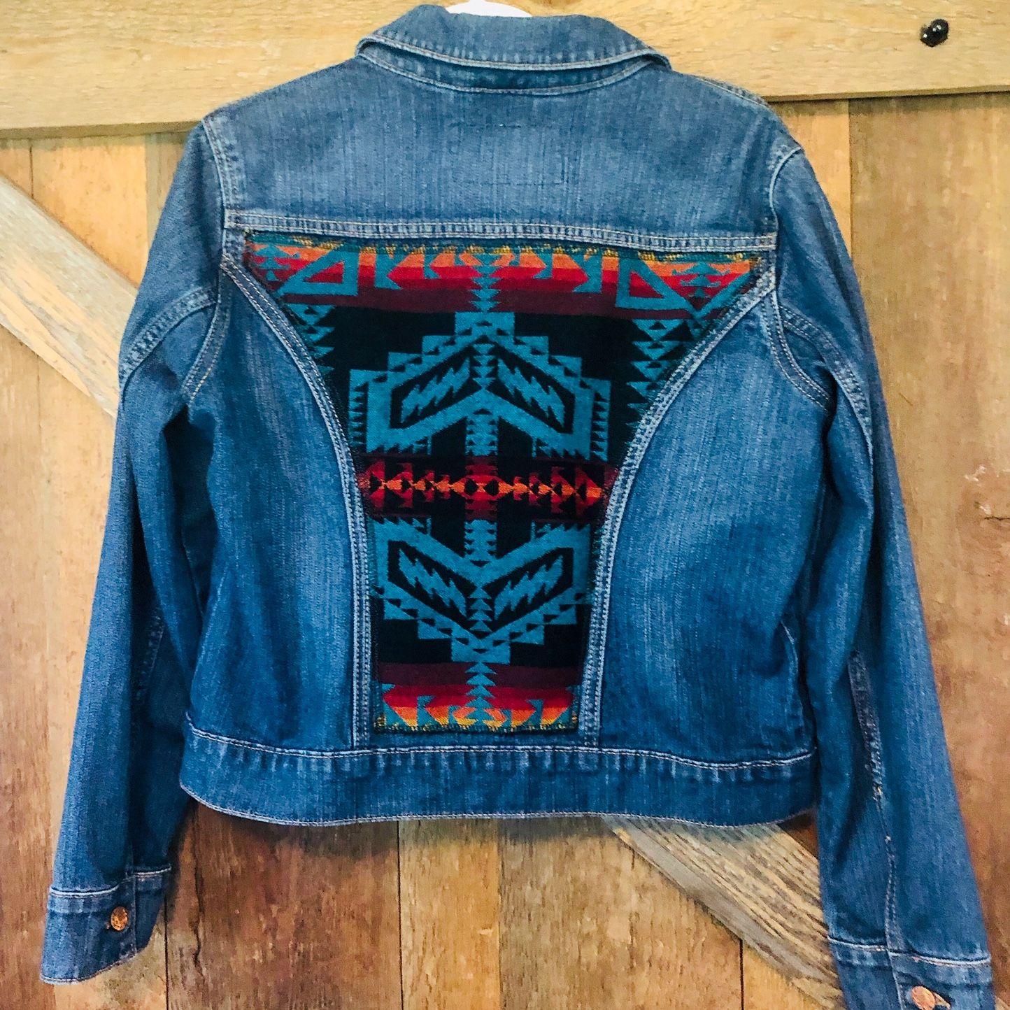 Pendleton Wool Denim Jacket Diy Denim Jacket Embellished Denim Jacket Upcycled Denim Jacket [ 1444 x 1444 Pixel ]