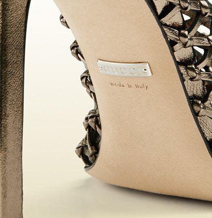 metallic leather bootie