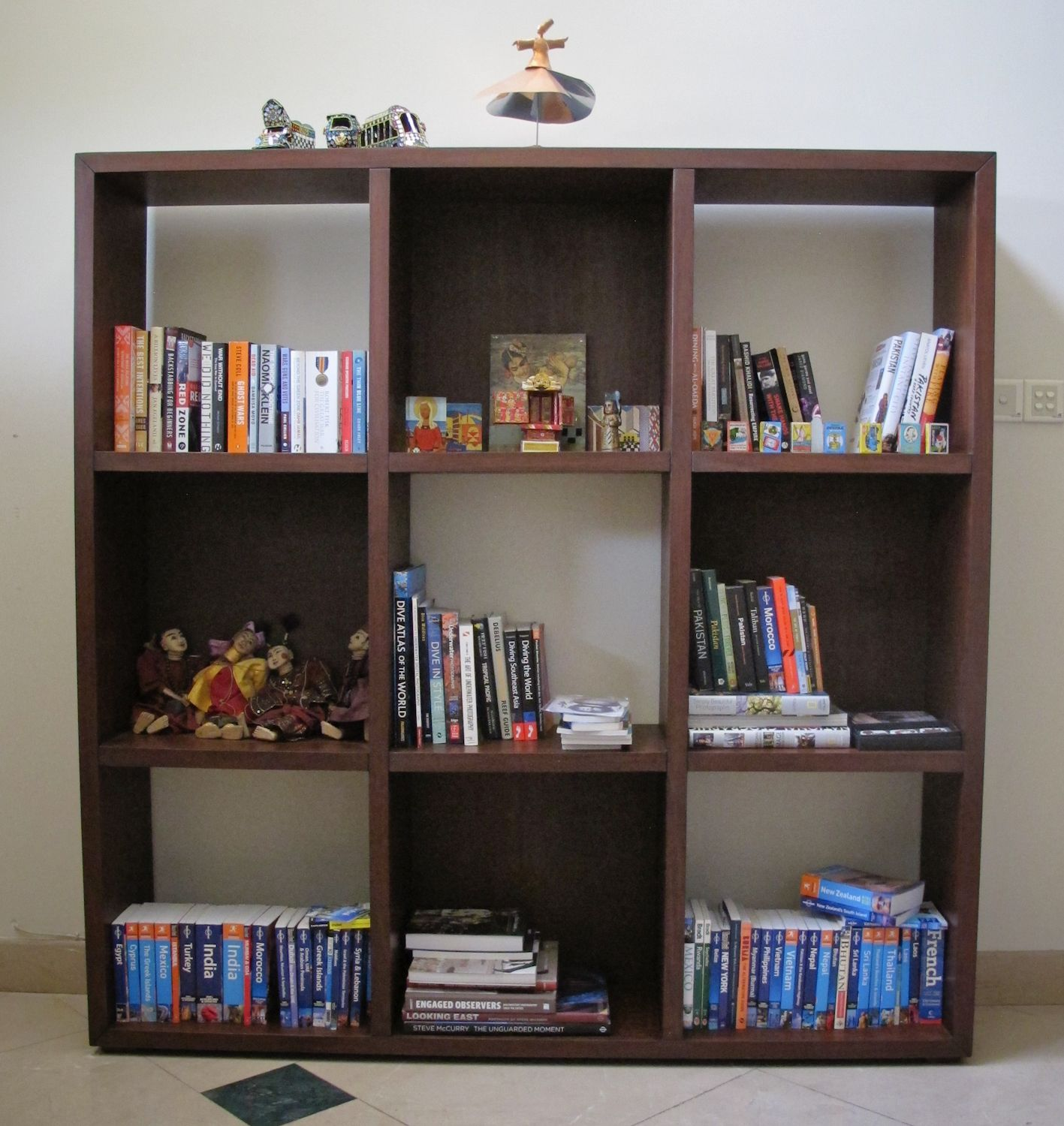 Large Custom Made Square Wooden Bookcase Five Open Shelves Four Enclosed
