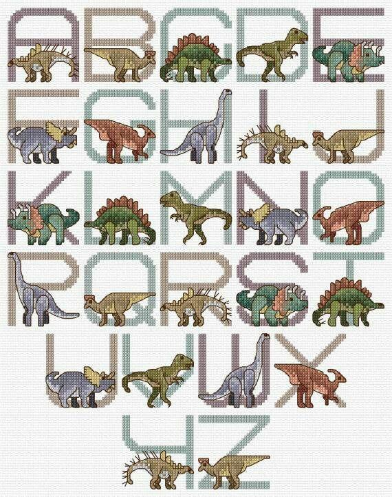 ABC de Dinosaurios en punto de cruz