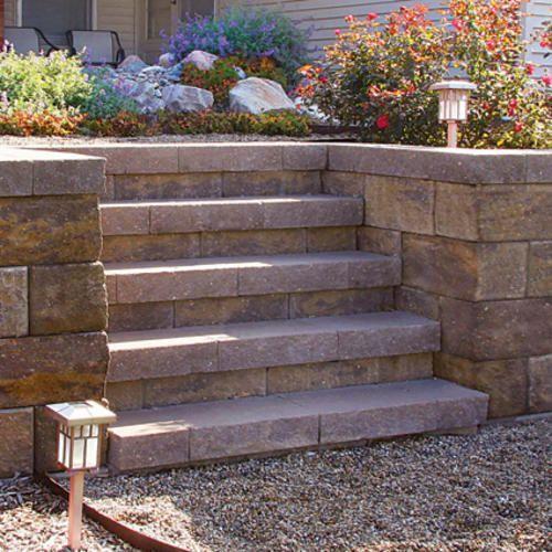 Denver Straight Retaining Wall Block At Menards Landscaping Retaining Walls Retaining Wall Retaining Wall Blocks