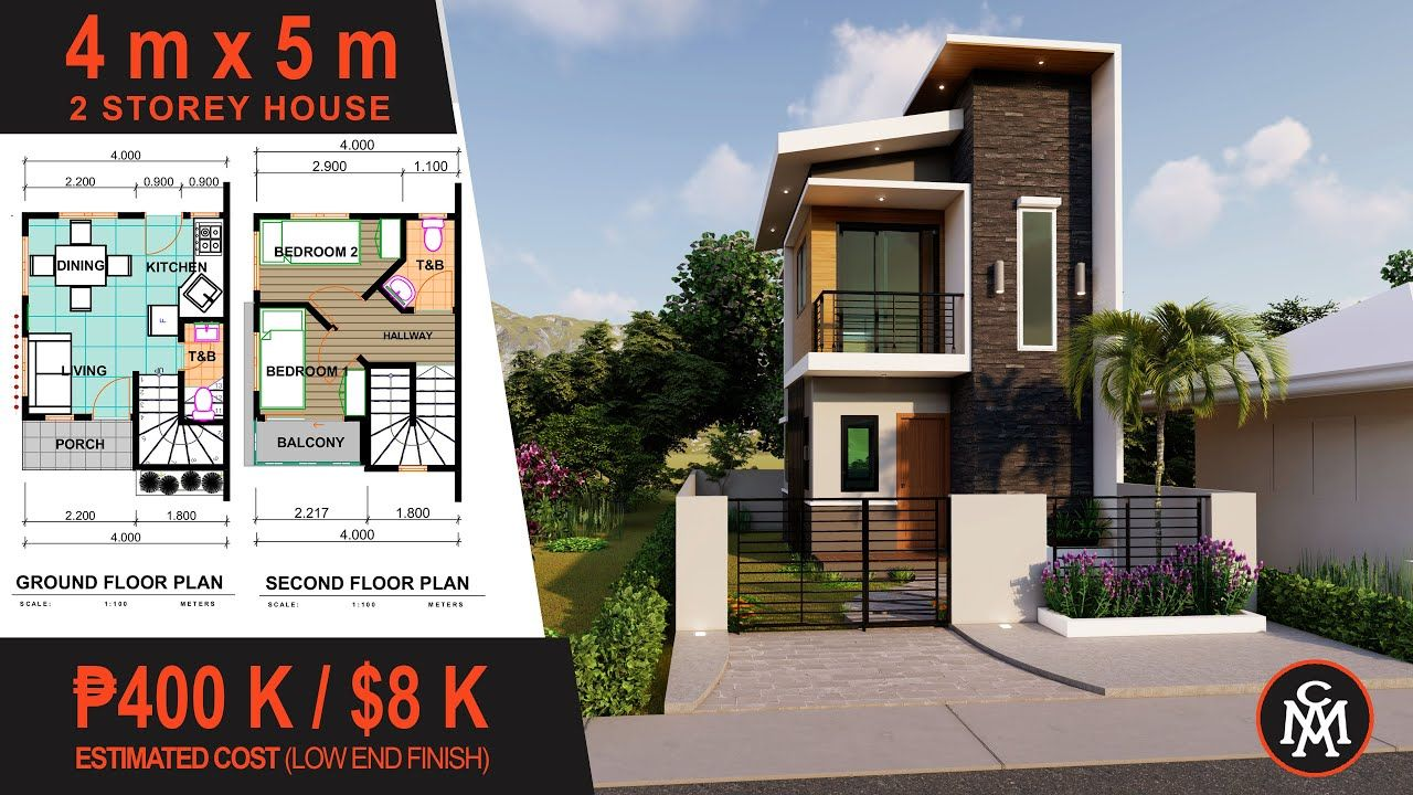 2 Storey House Plan 4x5m House Design With Floor Plan Hd 6 2 Storey House Design Narrow House Designs Small House Design Floor Plan