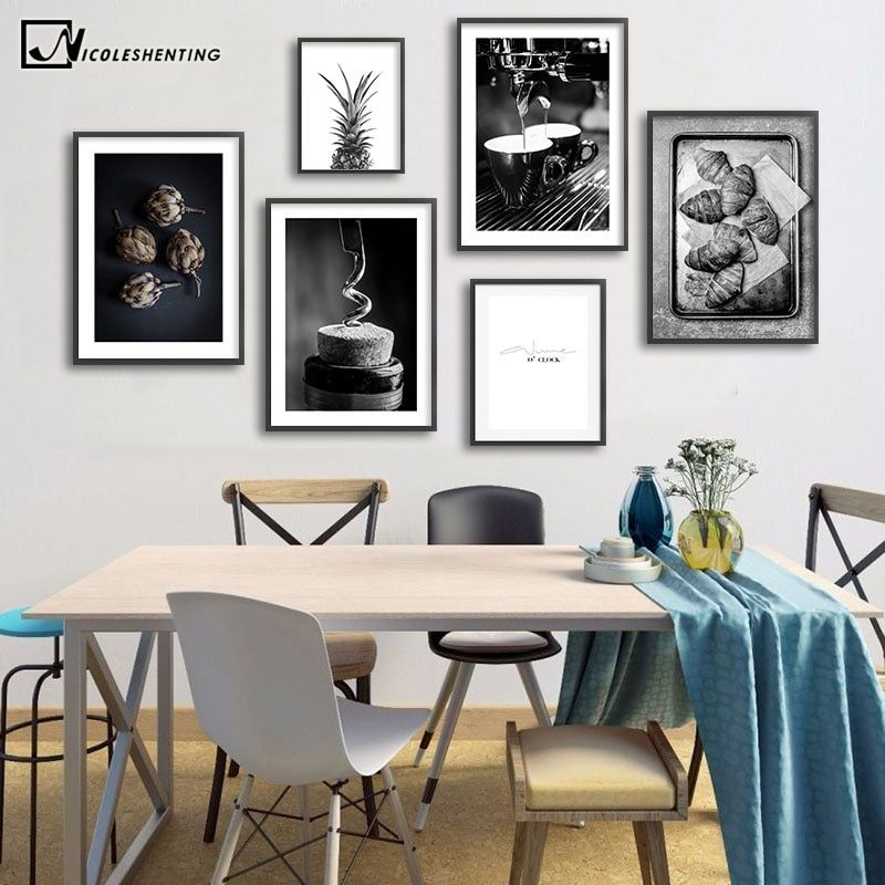 Coffee Wine Bread Kitchen Poster Black White Drink Food Canvas Print Wall Art Painting Picture Dining Room Restaurant Decoration In 2020 Wall Art Decor Living Room Dining Room Walls Simple Canvas Paintings