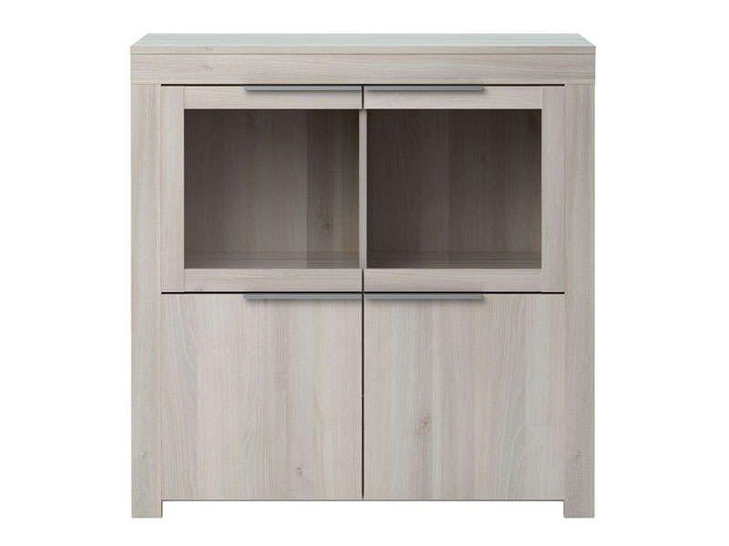 Rangement 2 portes + 2 portes en verres RUBIS coloris acacia - Vente