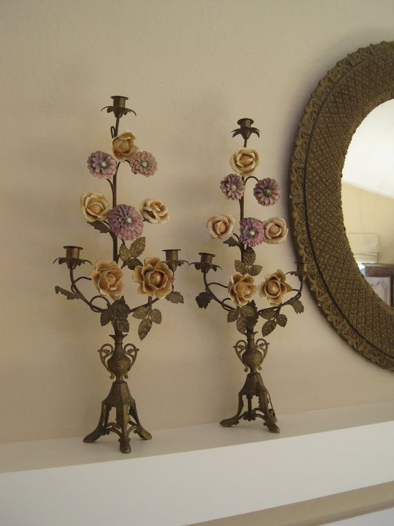 Pair Antique French Candelabra Altar Candlesticks Candle